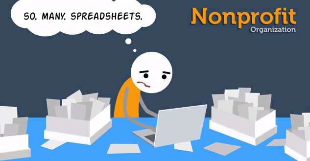 Cartoon of nonprofit employee working with many spreadsheets