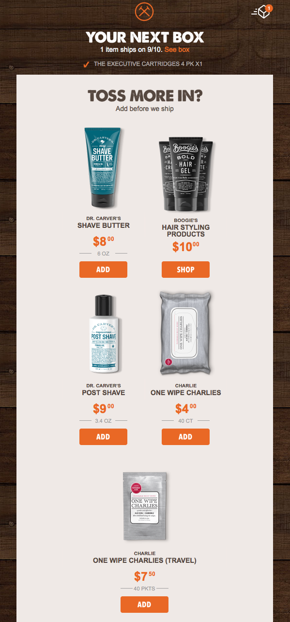 email campaign from dollar shave club suggesting products to purchase