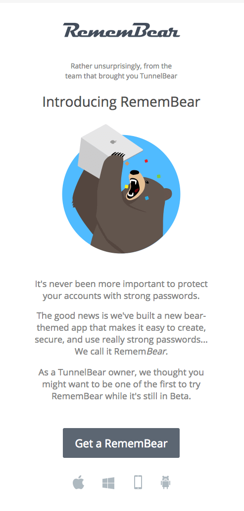 email campaign from remembear promoting new password manager