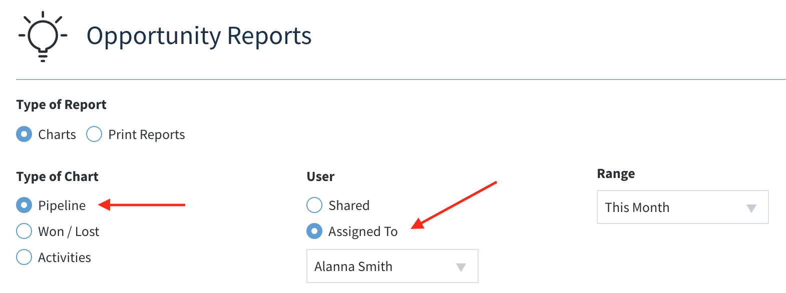 Method:CRM opportunity reports