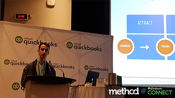 Bram Warshafsky discussing content marketing at QuickBooks Connect Toronto