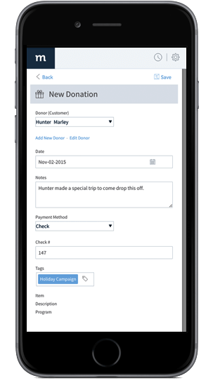 Smartphone showing new donation screen in Method nonprofit CRM