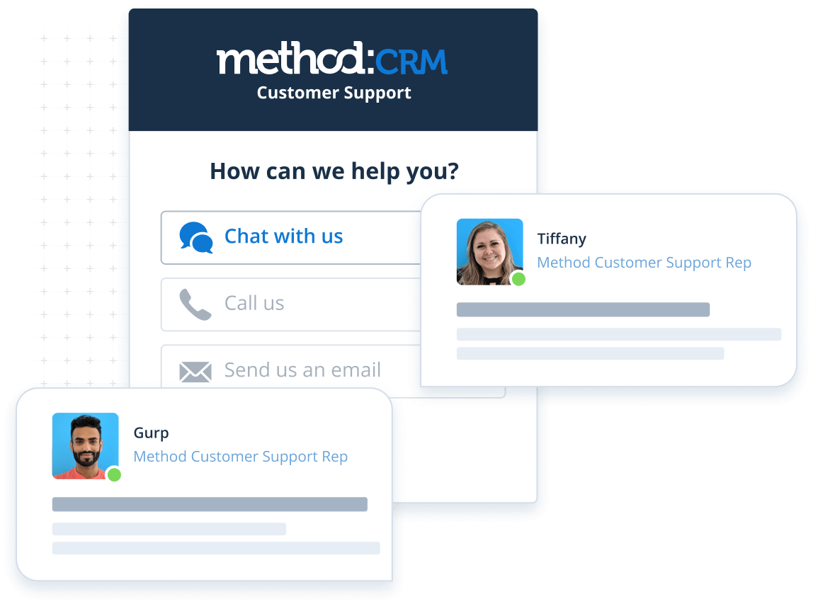 Customer support options at Method:CRM