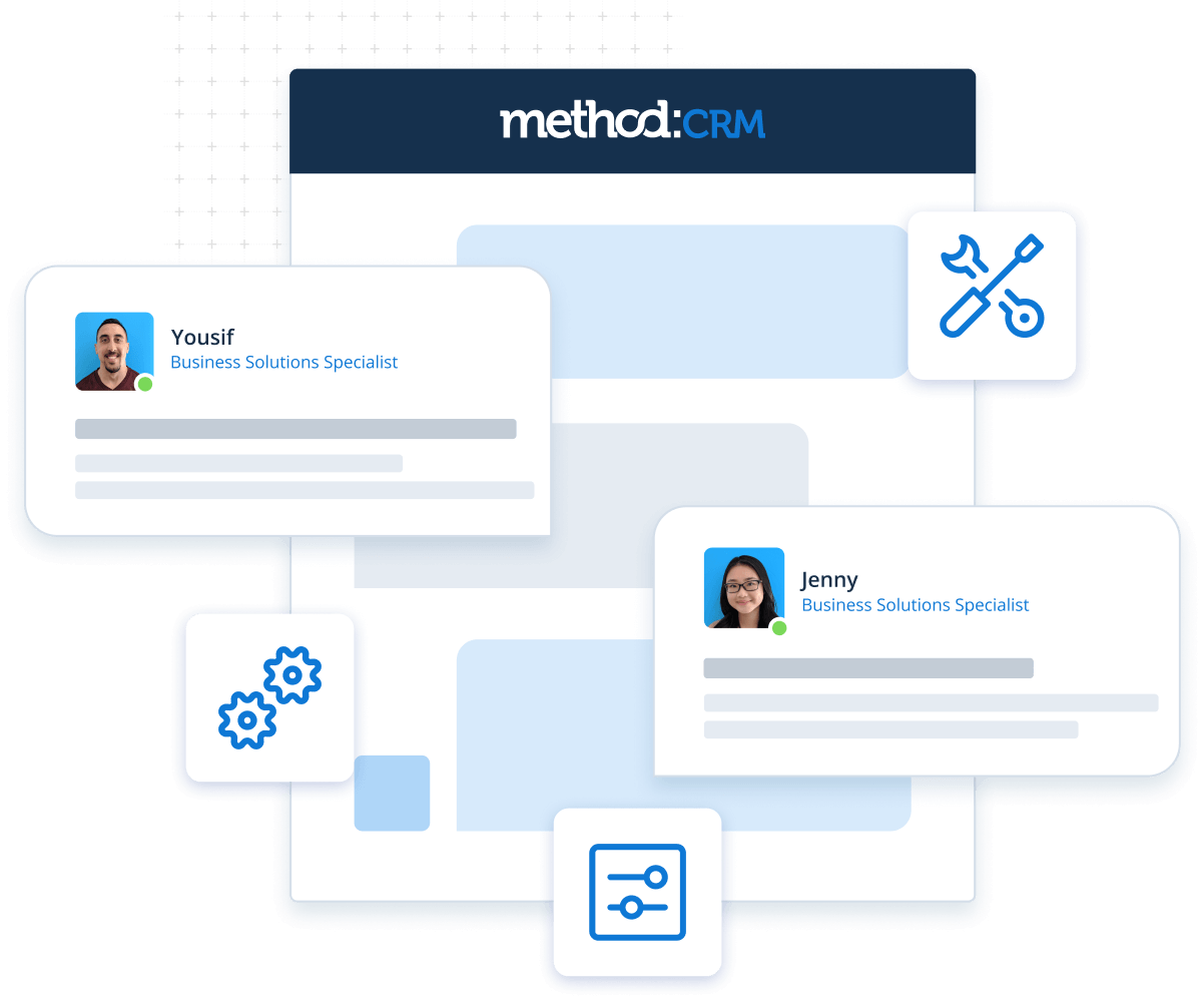 Graphic representing Method's CRM customization services