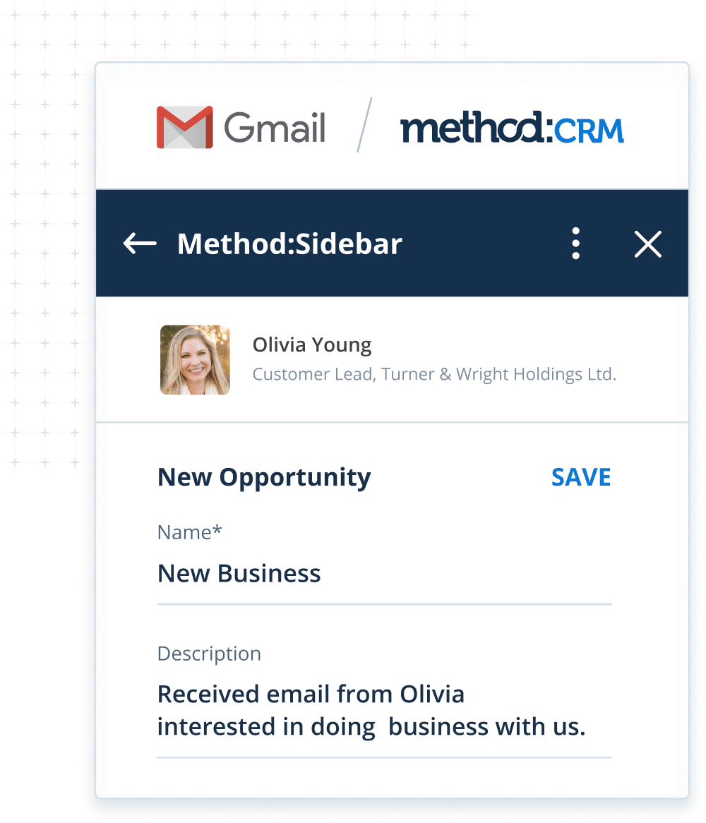 Gmail integration for Method:CRM lead management software