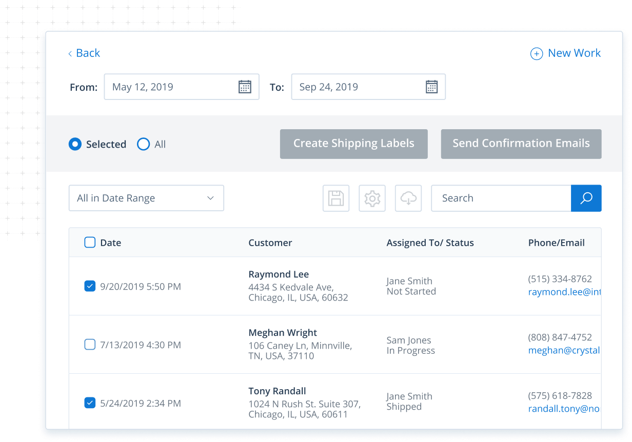Order management screen in Method CRM for manufacturing businesses