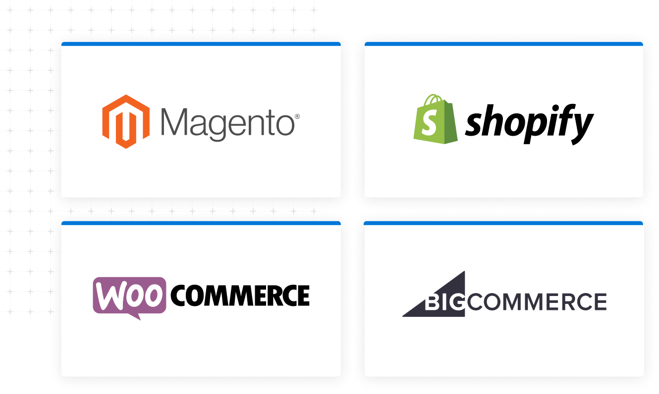 Tiles containing logos for Magento Shopify WooCommerce BigCommerce