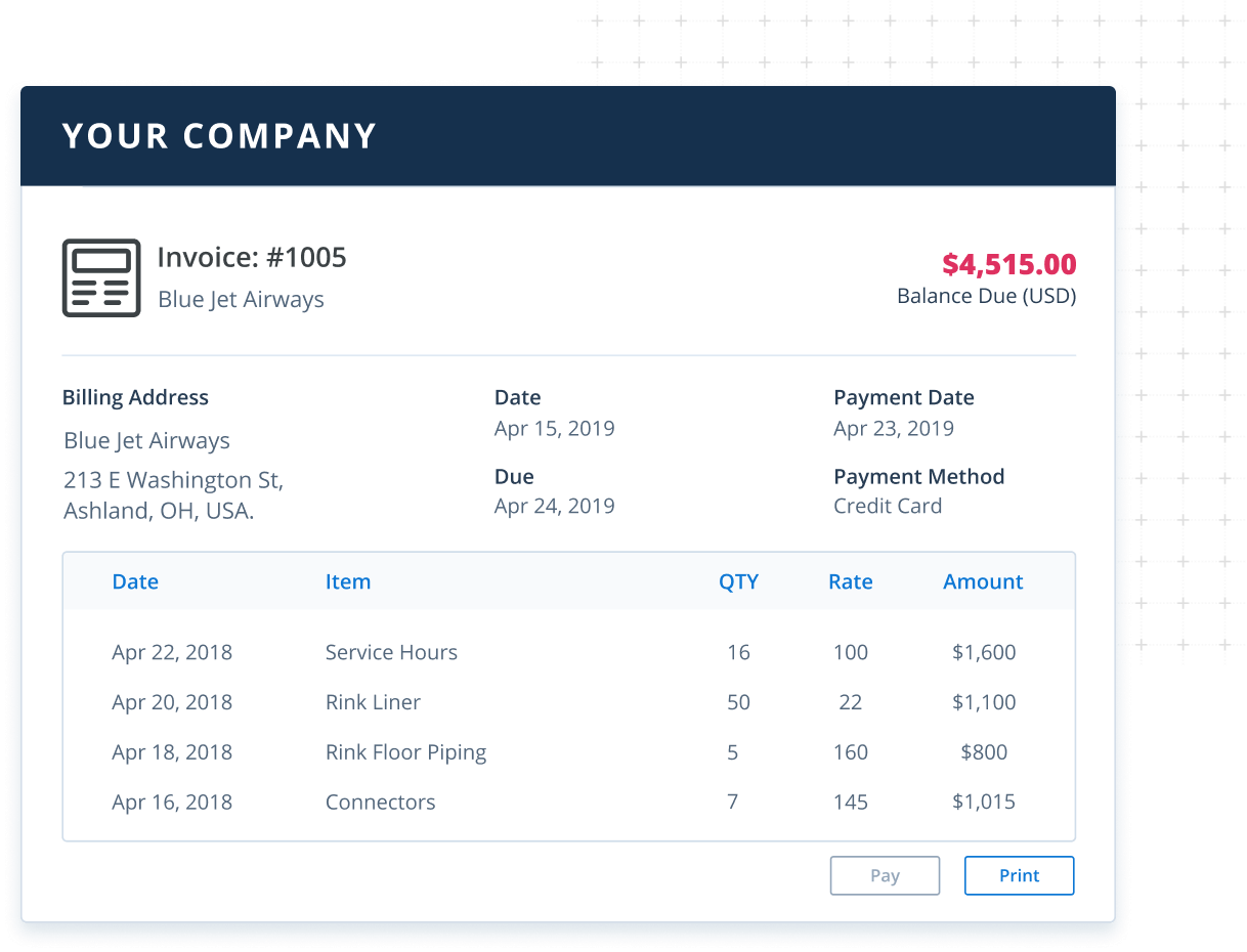 Invoice screen in Method CRM for construction companies