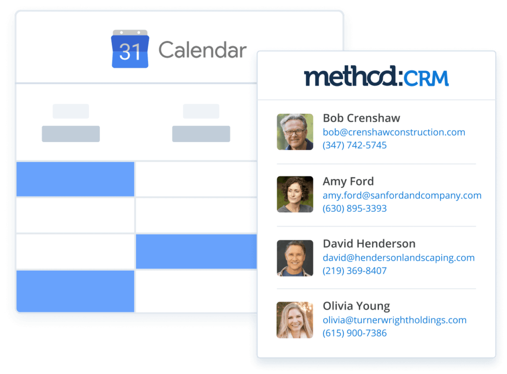 Method CRM integration with Google Calendar