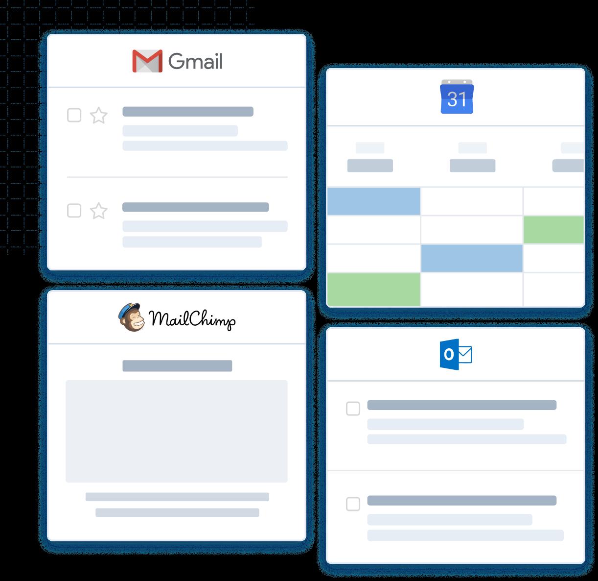 CRM integrations with Gmail Outlook Mailchimp Google Calendar