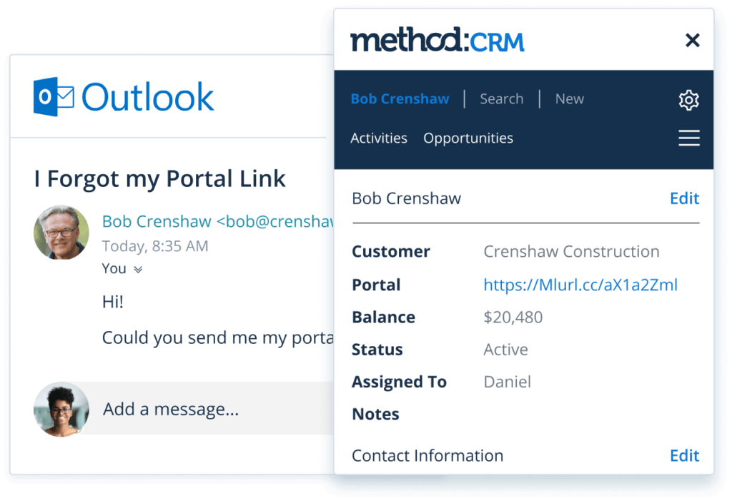 Method CRM integration with Outlook