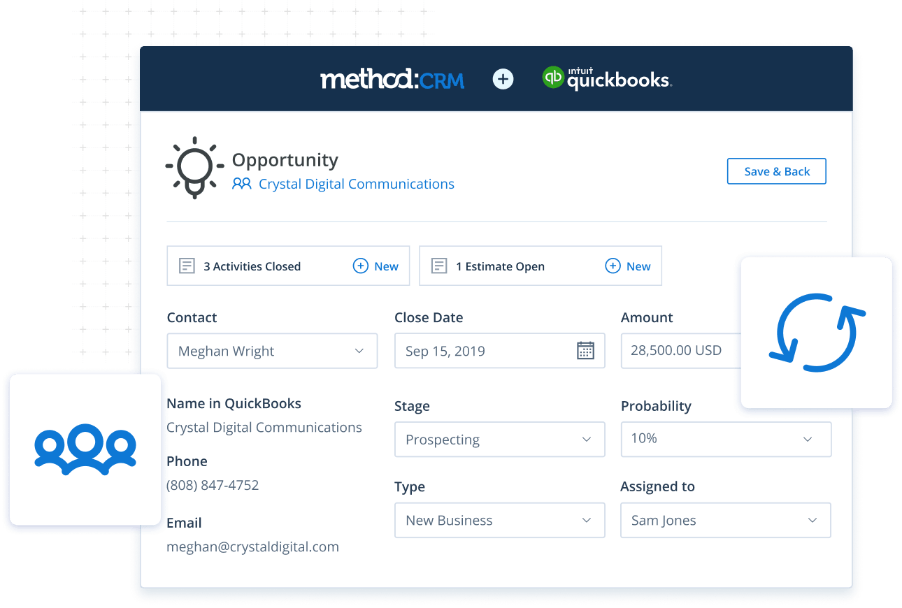 Opportunity screen in Method CRM field service management software