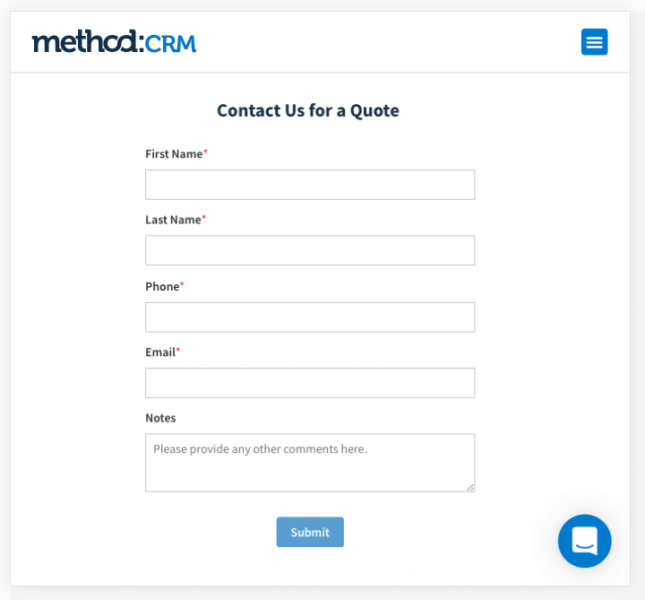 Method:CRM Lead Gen Form