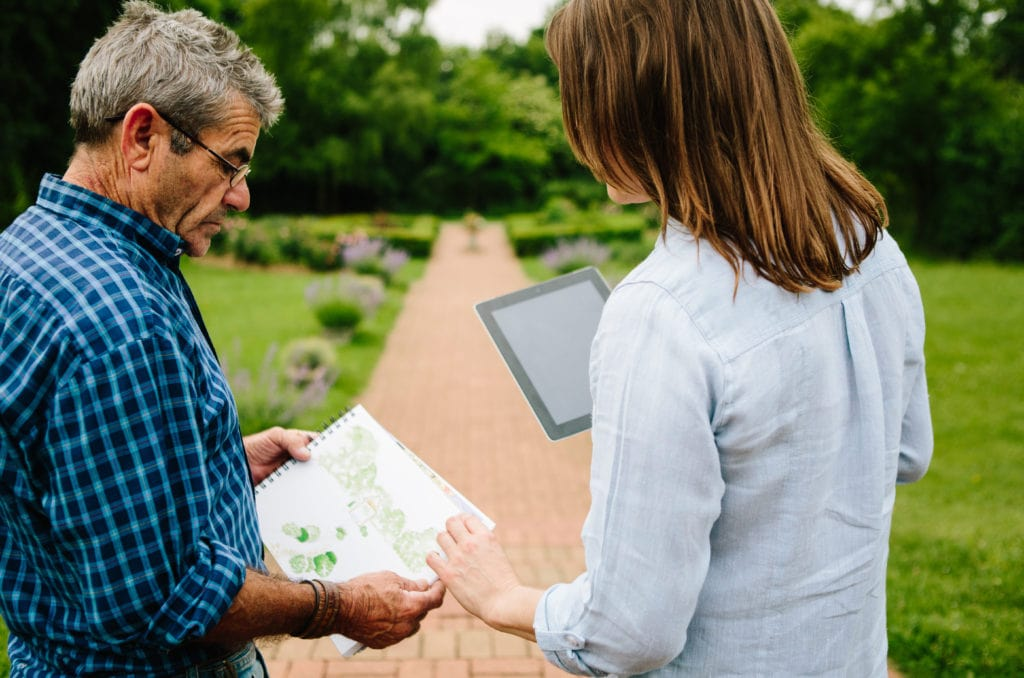 Two Gardeners At Work Checking Plans For A Formal Garden