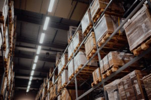 Shelves of boxes in a warehouse
