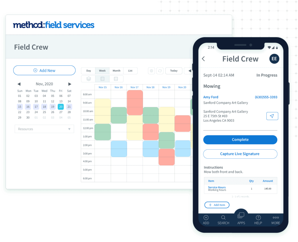 Method:Field Services calendar and mobile app views